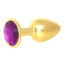 Золотистая анальная пробка с фиолетовым кристаллом - 7 см.