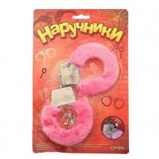 Металлические наручники с розовой плюшевой отделкой