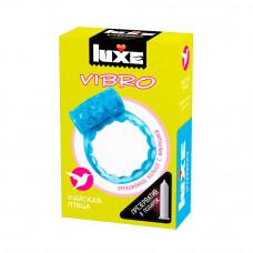 Голубое эрекционное виброкольцо Luxe VIBRO  Райская птица  + презерватив