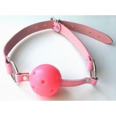 Розовый пластиковый кляп-шарик Ball Gag