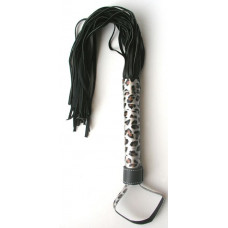 Черная плетка Notabu с леопардовой рукоятью - 50 см.