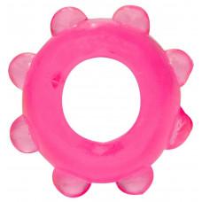 Розовое эрекционное кольцо с шишечками