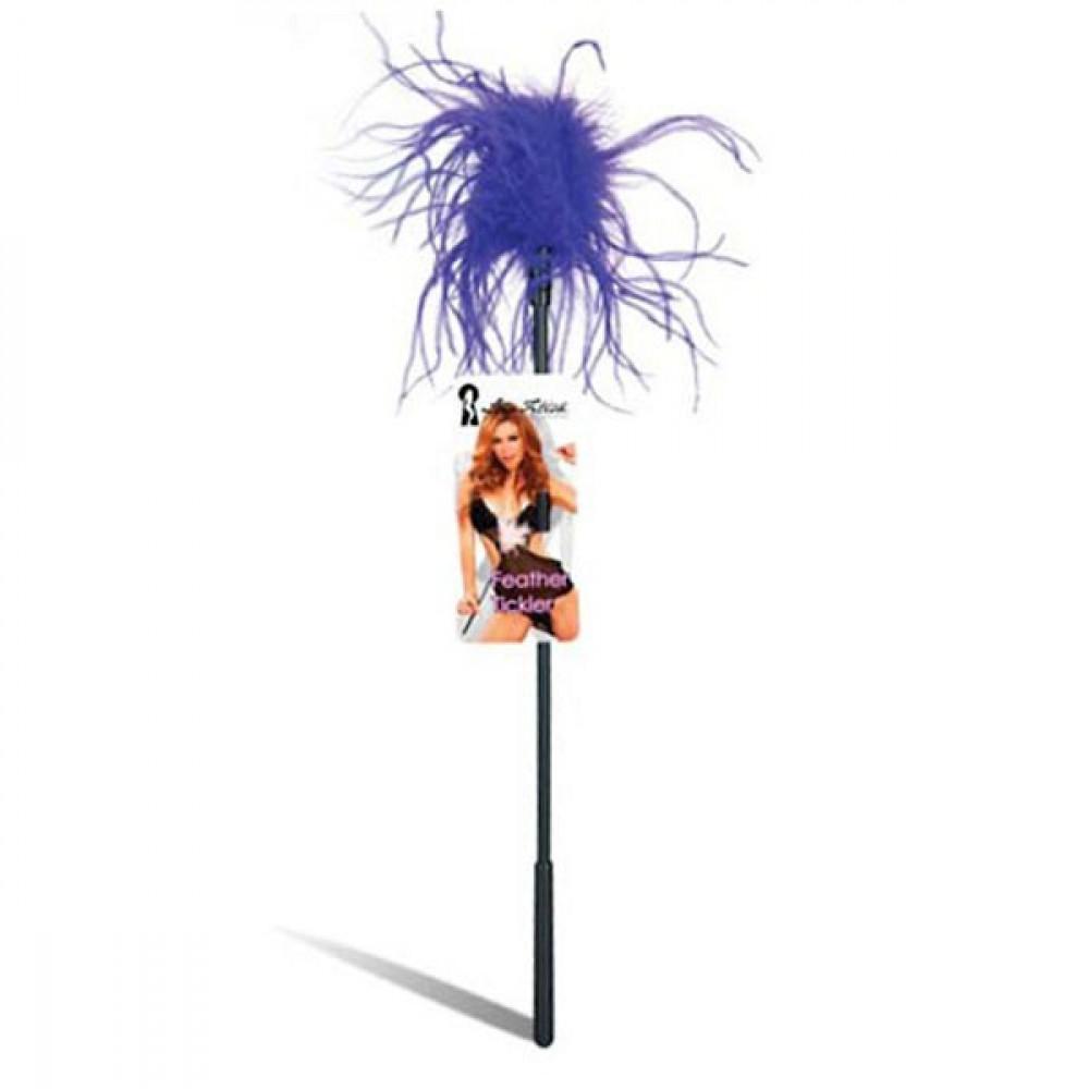 Ласкающая палочка с перьями фиолетового цвета (Lux Fetish LF1460-PUR)
