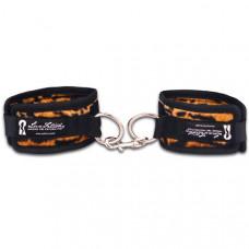 Бархатистые леопардовые наручники унисекс