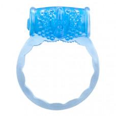 Голубое любовное вибро-кольцо со стимуляцией клитора