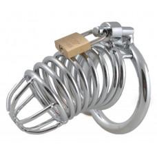 Серебристый металлический пояс верности на замочке с ключиком