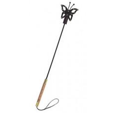 Стек с фигурным окончанием в виде бабочки из чёрной лаковой кожи - 78 см.