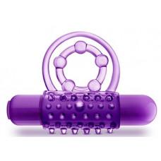 Фиолетовое эрекционное виброкольцо The Player Vibrating Double Strap Cock Ring