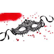 Черная ажурная текстильная маска  Памелла