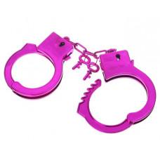 Ярко-розовые пластиковые наручники  Блеск