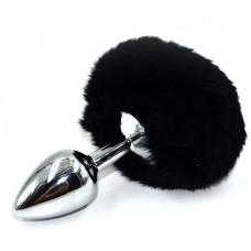 Серебристая округлая анальная пробка с заячьим хвостиком черного цвета - 11,5 см.