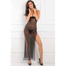 Прозрачное длинное платье с открытым лифом и разрезами по бокам