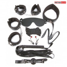Большой игровой набор БДСМ: наручники, оковы, маска, кляп, плеть, ошейник с поводком, верёвка, зажимы для сосков