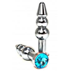 Серебристая коническая анальная пробка-ёлочка с голубым кристаллом - 11 см.