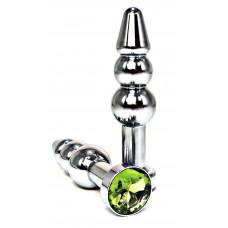 Серебристая коническая анальная пробка-ёлочка с лаймовым кристаллом - 11 см.