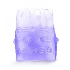 Фиолетовая рельефная насадка на пенис - 5 см.