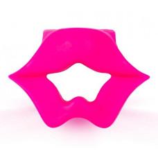 Розовое эрекционное виброкольцо в форме губ