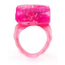 Розовое эрекционное кольцо с вибропулей