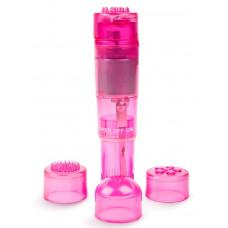 Розовая виброракета с 4 сменными колпачками