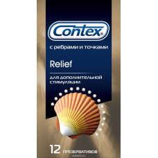 Презервативы с точками и рёбрами CONTEX Relief - 12 шт.