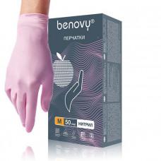Розовые нитриловые перчатки BENOVY размера M - 100 шт.(50 пар)