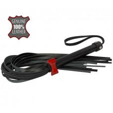Черная многохвостовая плеть с красным бантиком - 55 см.