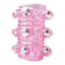 Розовая насадка на пенис Crystal sleeve с шариками и пупырышками - 5,5 см.