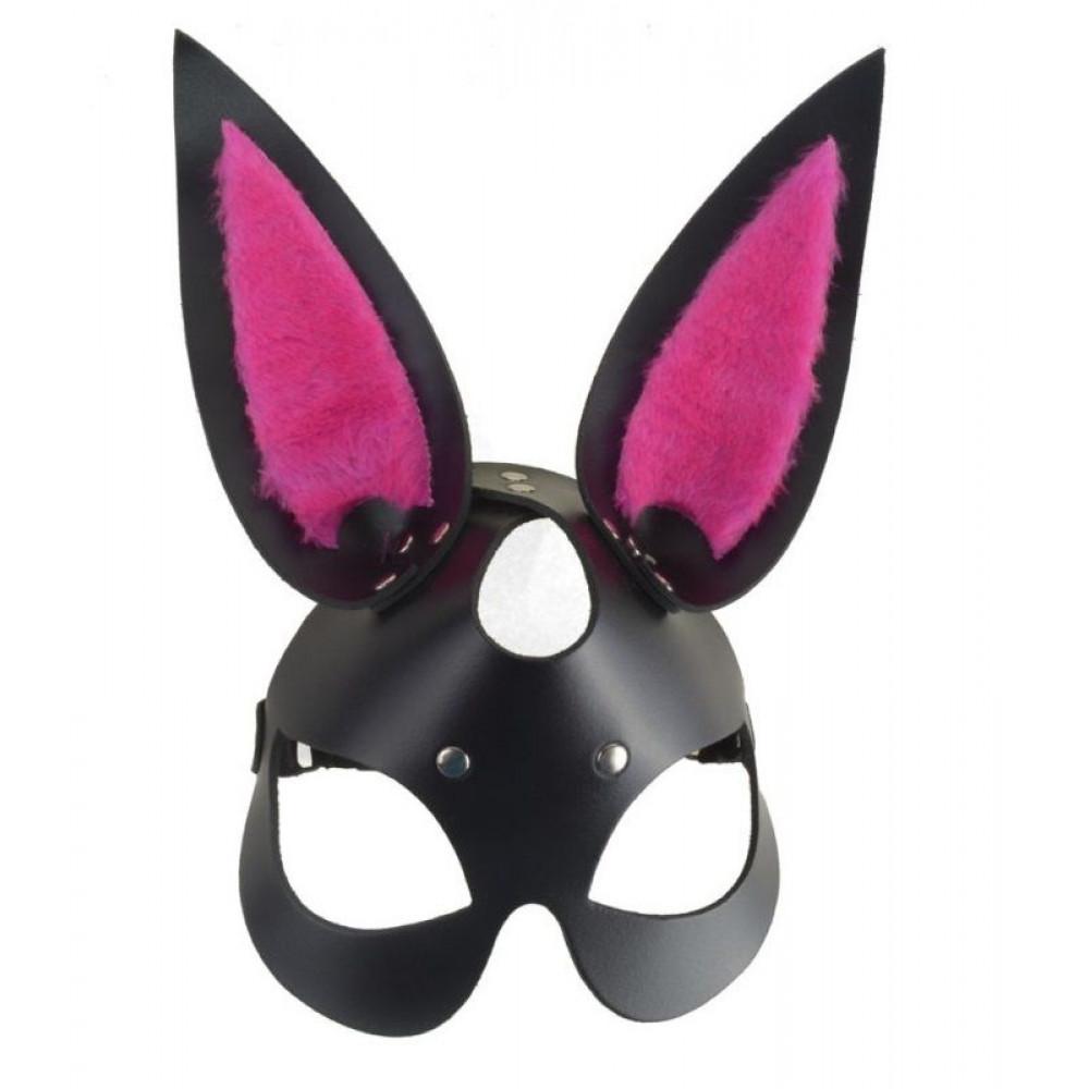 Черная маска  Зайка  с розовыми меховыми вставками