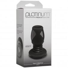Чёрная анальная пробка с отверстием Platinum The Stretch Small - 8,6 см.