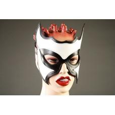 Кожаная маска-очки с белой вставкой