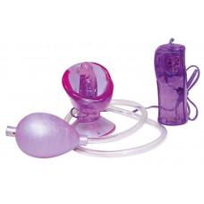 Фиолетовая вагинальная помпа с виброязычком
