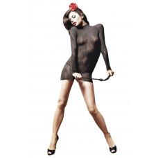 Полупрозрачное платьице с длинным рукавом и воротничком-стойкой