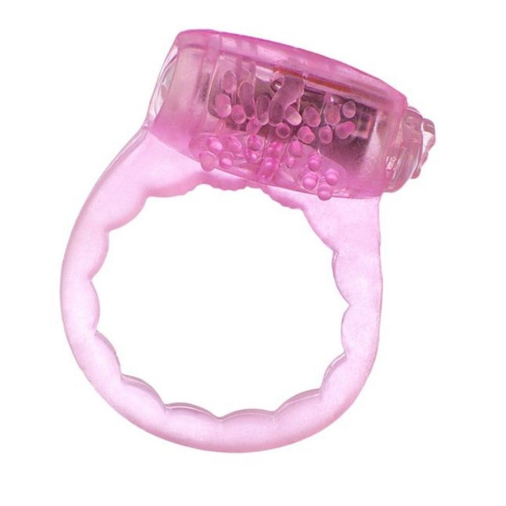 Тонкое розовое эрекционное кольцо с вибратором