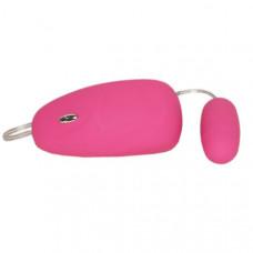 Розовое бархатистое виброяичко с выносным пультом управления
