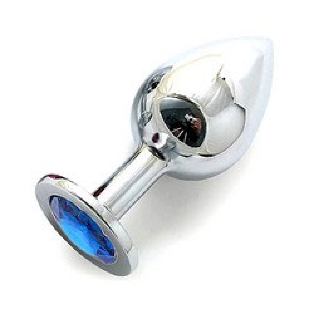 Анальная пробка BUTT PLUG  Large с голубым кристаллом - 9,5 см. (Anal Jewelry Plug SL-05)