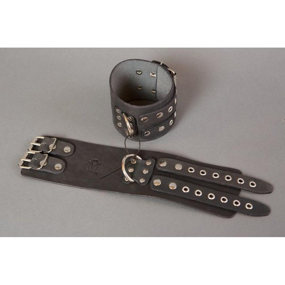 Широкие кожаные черные оковы на ноги без подкладки