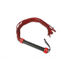 Красно-чёрная плеть-многохвостка с гладкой рукоятью - 77 см.