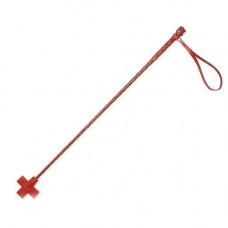 Красный кожаный стек с крестообразным наконечником - 70 см.