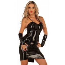 Черное платье из винила