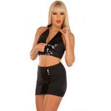 Черная юбка с вертикальной виниловой вставкой