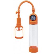 Оранжевая вакуумная помпа A-toys с манометром и прозрачной колбой