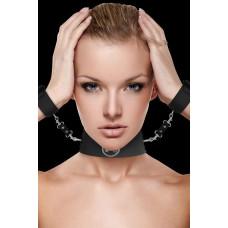 Чёрный ошейник с наручниками Collar with Cuffs