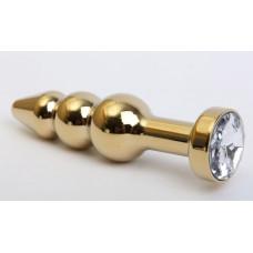 Золотистая анальная ёлочка с прозрачным кристаллом - 11,2 см.