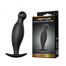 Чёрный анальный стимулятор с шаровидным кончиком - 11,7 см.