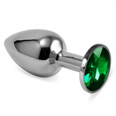 Серебристая анальная пробка с зелёным кристаллом размера M - 8 см