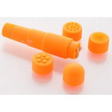 Компактный оранжевый вибромассажер  с 4 насадками