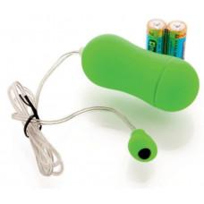 Зеленое виброяйцо с выносным пультом-кнопкой - 6,5 см.