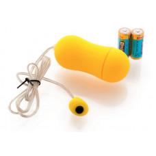 Желтое виброяйцо с выносным пультом-кнопкой - 6,5 см.