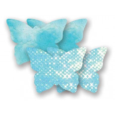 Комплект из 1 пары голубых пэстис-бабочек с блестками и 1 пары голубых пэстис-бабочек с кружевной поверхностью