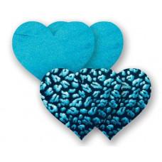 Комплект из 1 пары бирюзовых пэстис-сердечек и 1 пары черных пэстис-сердечек с леопардовым принтом